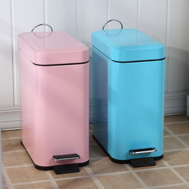 European Creative Bathroom Trash Can Lid Foot Kitchen Trash Lovely Fashion  Household Cleaning Rubbish Bin