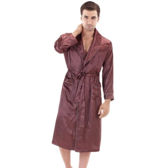 New Spring/Autumn Dressing Gown Mens Bath Robe Silk Robe Satin Bathrobe Noble Men Home Clothing Indoor Clothing