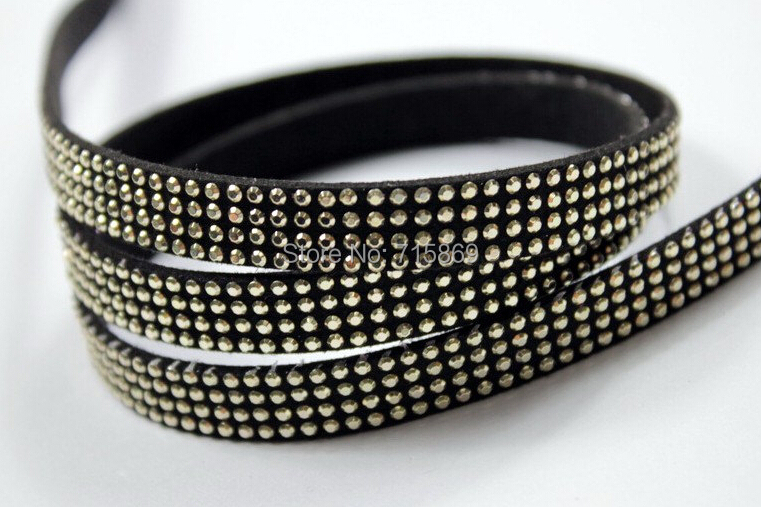 New Arrive 100 Meters BLACK 10 x1.5mm Microfiber Faux Suede Lace Leather Cord w/ Gold Rivet Accents 4 Linesd Acrylic Stones
