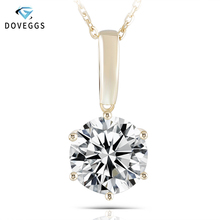 DovEggs Classic Solid 14K Yellow Gold 5ct 11mm F Color Moissanite Diamond Pendant Necklaces For Women Solitaire Set Pendant