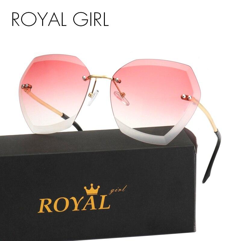ROYAL GIRL Módní dámské sluneční brýle Rimless Brand Design Coating Gradient Colorful Lens Glasses UV400 SS198