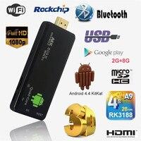 Mini TV Stick DLAN TV Dongle StickAndroid 4.4 PC Quad Core Rockchip RK3188T 2G/8G Wifi TV Media Player MK809III Bluetooth XBMC