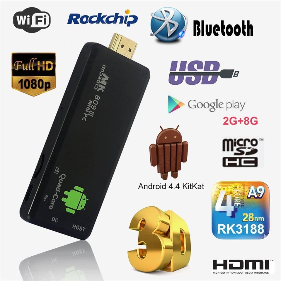 Mini bâton TV DLAN TV Dongle StickAndroid 4.4 PC Quad Core Rockchip RK3188T 2G/8G Wifi TV lecteur multimédia MK809III Bluetooth XBMC