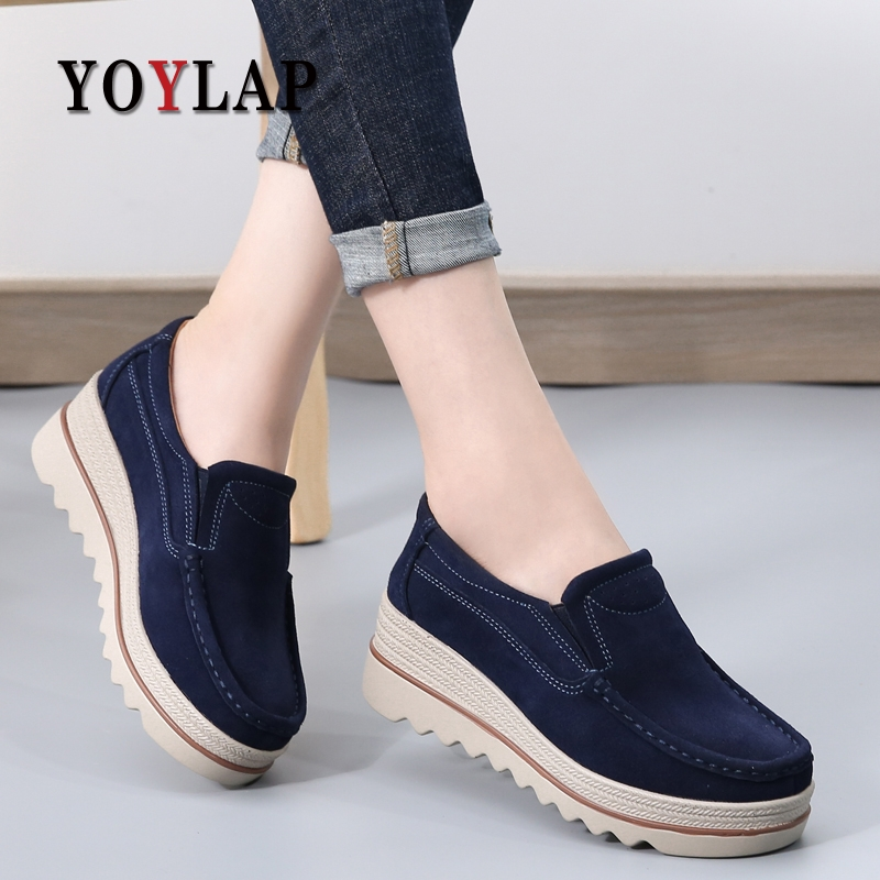 2018 Autumn Women Flats Shoes Platform Sneakers Shoes   Leather     Suede   Casual Shoes Slip On Flats Heels Creepers Moccasins 188