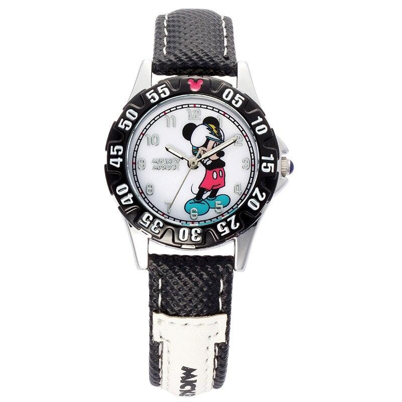 Disney authentique dessin animé enfants garçons montres mickey mouse cuir quartz étudiants garçon horloges étanche lumineux original