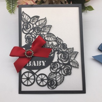 50pcs/lot Laser Cut Baby Shower Invitations Card With Bowknot Baby Carriage Pattern Birthday Party Invitations Greeting Card