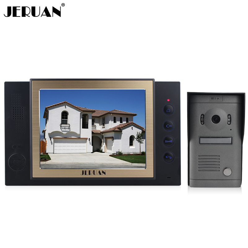 JERUAN Home Color Video Door Phone Intercom Kit Take Picture DoorBell 8 LCD Monitor DoorPhone IR Camera 8GB TF Video Recording