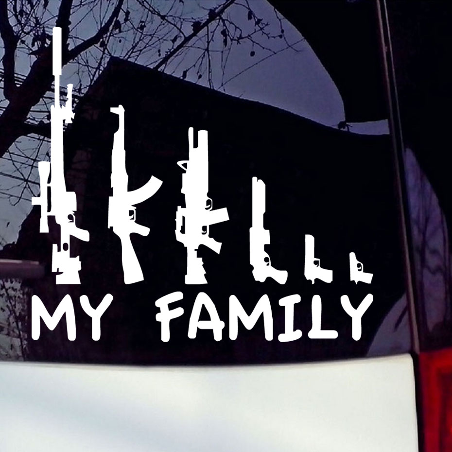 Family car sticker designs - My Guns Family Vinyl Car Sticker Rifle M16 Ak47 Sticker For Window Car Bumper Laptop Waterproof