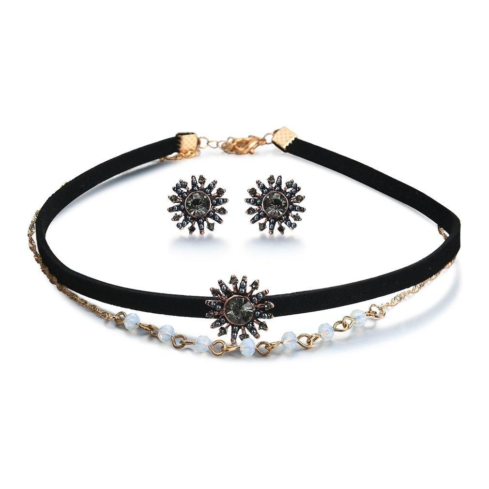 GENBOLI Rhinestone Pendant Necklace Earrings Jewelry Sets For Women Wedding Jewelry For Women Gift Fashion Bridal Jewelry Set