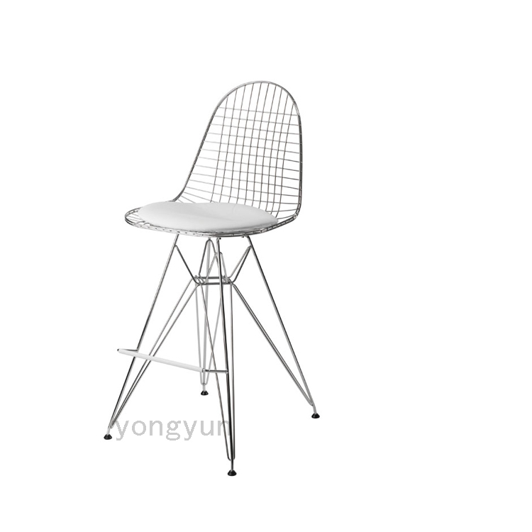Minimalist Modern Design Metal Steel Wire creative dining chairs Bar Chair Wire Stool Living Room Counter Leisure Stool-chromed