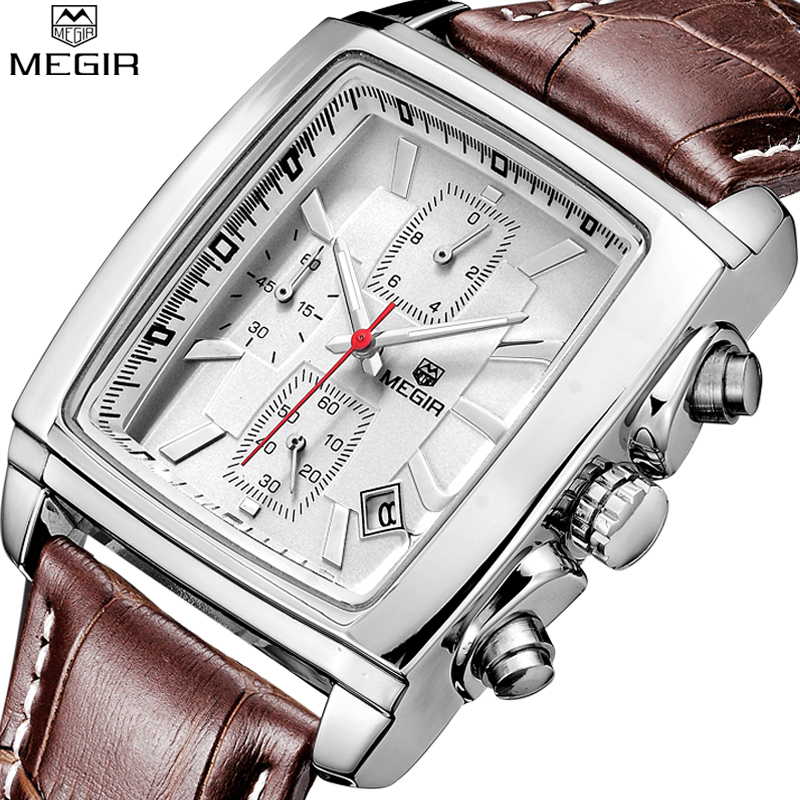 Megir 2018 Luxury Brand Mens Quartz Watches Military Leather Men Sports Watch Hour Date Waterproof Rectangle Dial Business Watch цена 2017