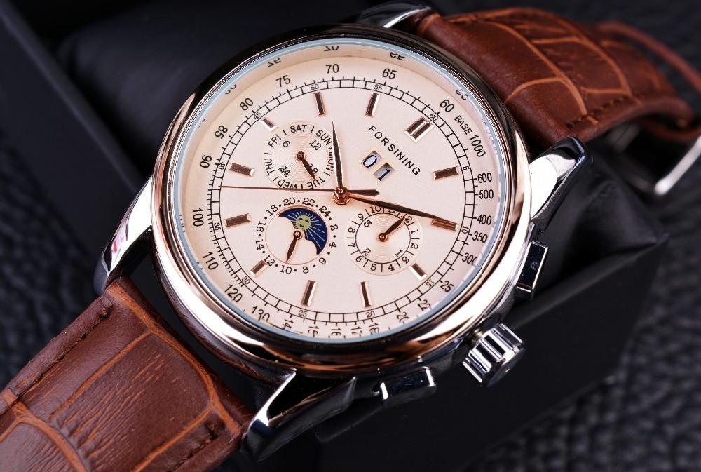 Forsining Phase de lune Shanghai mouvement boîtier en or Rose bracelet en cuir véritable marron montres pour hommes montre automatique de luxe de marque supérieure - 2