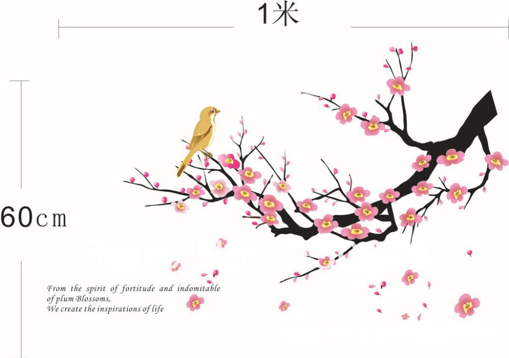 QZ345 Free Shipping 2Pcs Falling Flower Plum Blossom Branch Bird Removable PVC Wall Stickers <font><b>Elegant</b></font> Fancy <font><b>Home</b></font> <font><b>Decoration</b></font> Gift