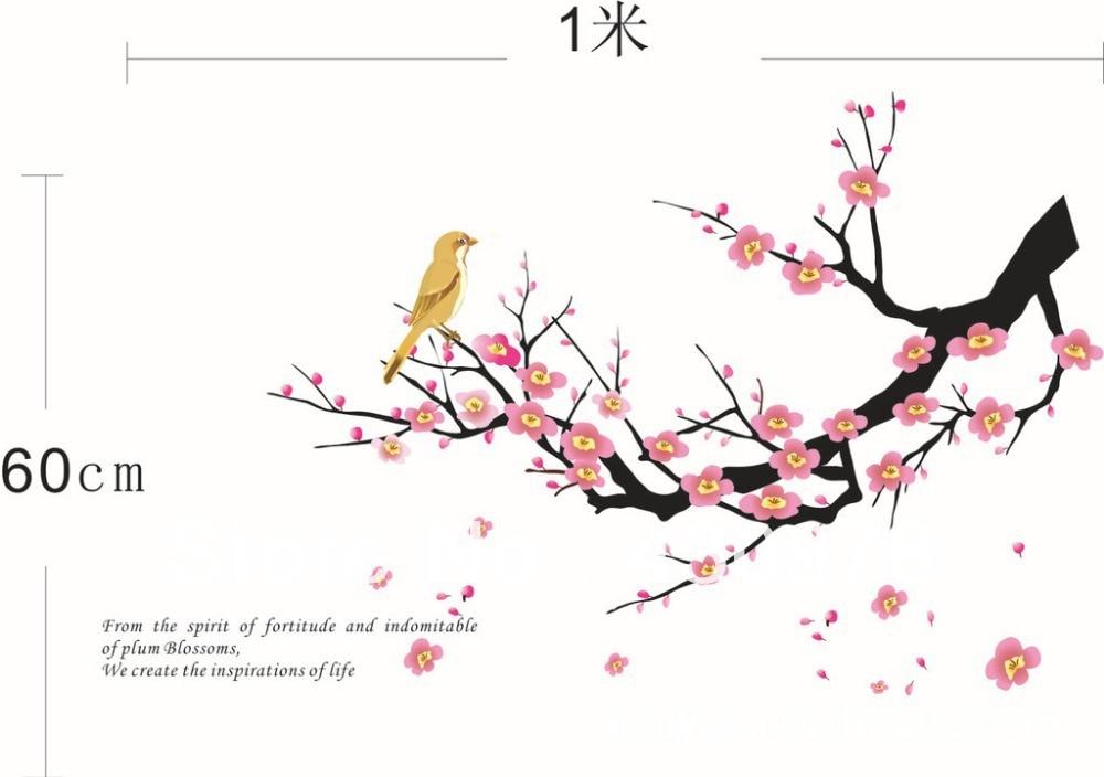 QZ345 Free Shipping 2Pcs Falling Flower Plum Blossom Branch Bird Removable PVC Wall Stickers <font><b>Elegant</b></font> Fancy <font><b>Home</b></font> <font><b>Decoration</b></font> Gift