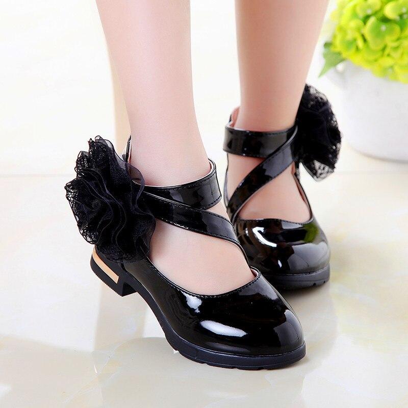2018 Діти Діти Повсякденне взуття для дівчаток Взуття для дівчаток Шкіряні черевики для дітей Принцеса гладіатора Римська мода Квіти взуття Великий розмір 27-37