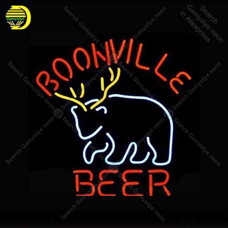 Boonville Deer Logo NEON LIGHT SIGN Neon Sign lamp Decorate wall Windows GLASS Tube BEER PUB Store Display Handcraft Iconic Sign