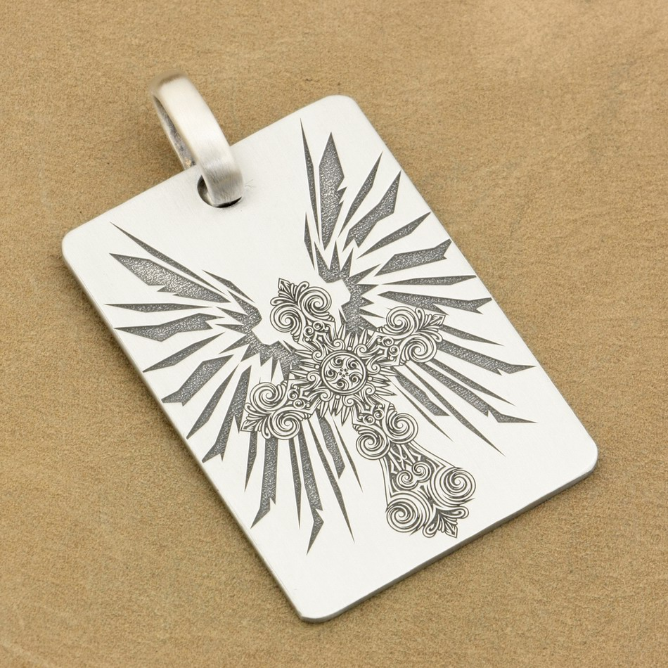 Deep Engraved High Detail Customizable 925 Sterling Silver Cross Wing Dog Tag Biker Rocker Punk Pendant 9X011 JPDeep Engraved High Detail Customizable 925 Sterling Silver Cross Wing Dog Tag Biker Rocker Punk Pendant 9X011 JP