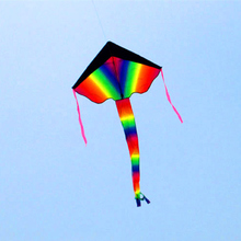 free shipping black rainbow kite nylon ripstop outdoor toys flying kite tails beach fun kite string parachute kites for adults цена в Москве и Питере