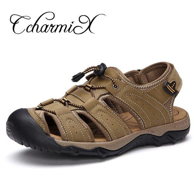 aba17c968 CcharmiX Mens Alpercatas de Couro Genuíno Tamanho Grande 38-48 Sandálias  Gladiador Homens Leve Chinelo