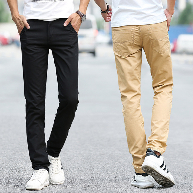 Business Casual Pants 11 Colors New Casual Pencil Pants Men Slim Pant Straight Trousers Solid Leisure Zipper Spring Summer k919 2
