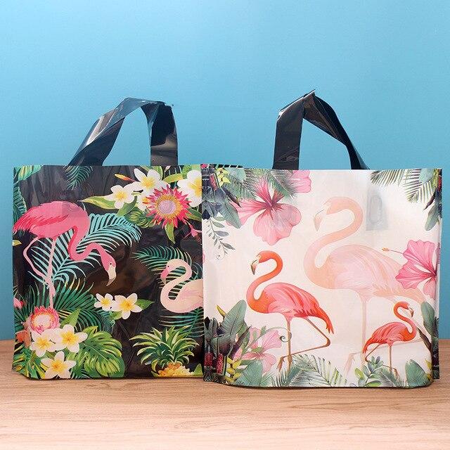 50 adet Flamingo Hediye Plastik saplı çanta giysi saklama Çantası Teşekkür Ederim Plastik alışveriş çantası Paketleme Düğün Parti Dekorasyon