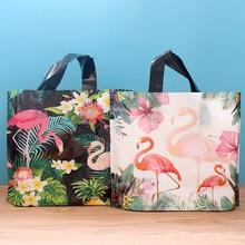 50 قطعة فلامنغو هدية كيس من البلاستيك مع مقبض حقيبة تخزين الملابس شكرا لك حقيبة تسوق بلاستيكية تغليف ديكور حفلات الزفاف