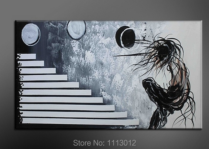 Hot Sale Abstract Hand Painted Black White Men Oil Painting On Canvas Home Decoration Modern Wall Picture For Living Room Sale