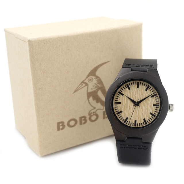 BOBO BIRD E27 Ebony Wooden Watch Womens Wood Dial Ladies Quartz Watch with Leather Strap in Gift Box horloges vrouwen