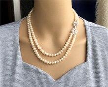 Anudado a mano 45 50cm natural 7 7,5mm perla blanca de agua dulce collar doble joyería de moda