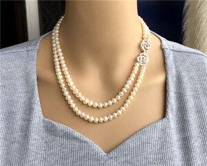 Image 1 - Ręcznie tkane 45 50 cm naturalne 7 7.5mm białe słodkowodne perły podwójny naszyjnik moda biżuteria