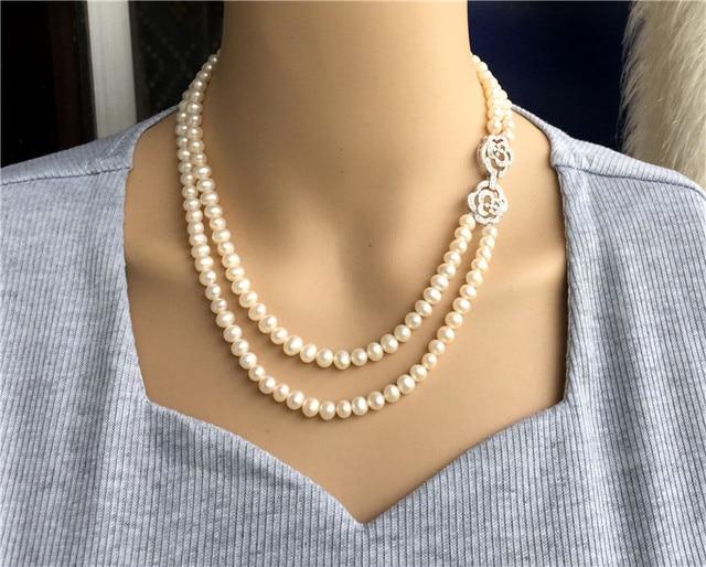 Ręcznie tkane 45 50 cm naturalne 7 7.5mm białe słodkowodne perły podwójny naszyjnik moda biżuteria