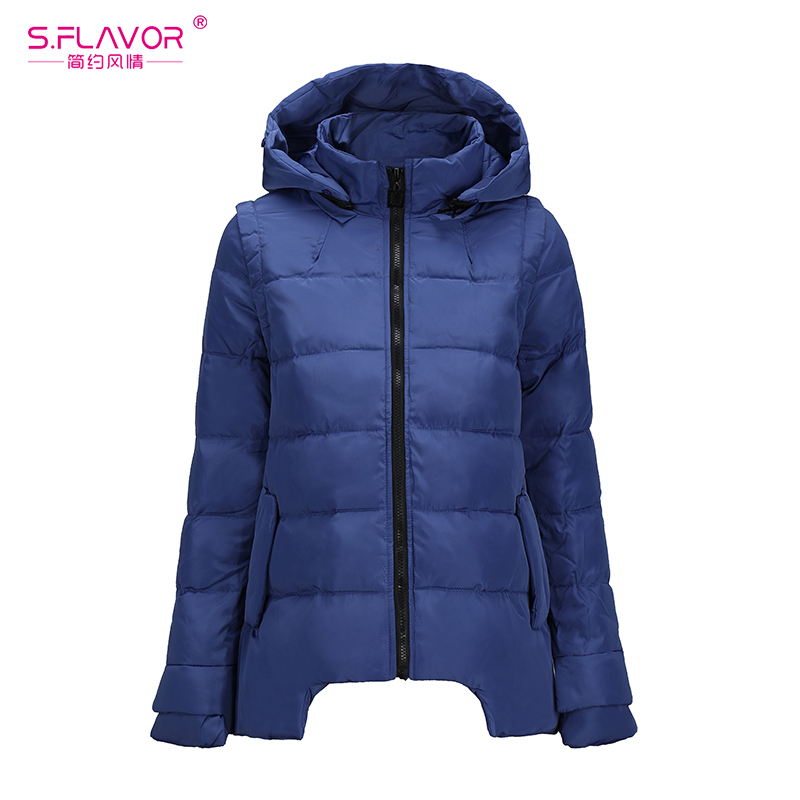 S.FLAVOR Women Winter Warm Coat 2018 New Windproof Down Jackets Slim Women Winter Casual Hooded Parka Solid Color with hat