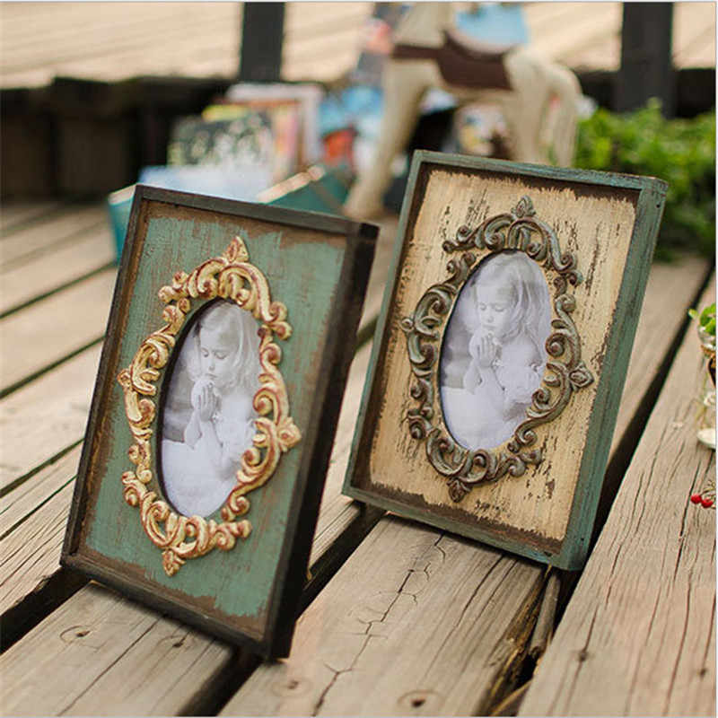 Vintage Photo Frame Home Decor Wooden Wedding Desktop Wall Picture Frame Birthday Gifts