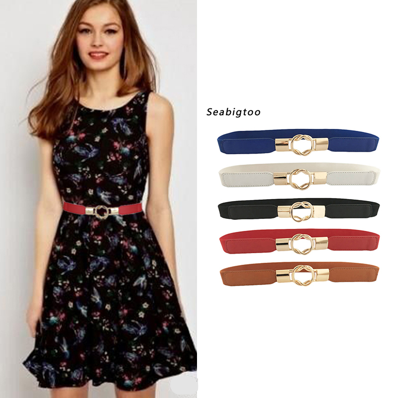 Seabigtoo Elastic   Belts   For Women Gold buckle   Belts   female High Quality women fashion 2018   belts   waist band Stretch Knit cinch