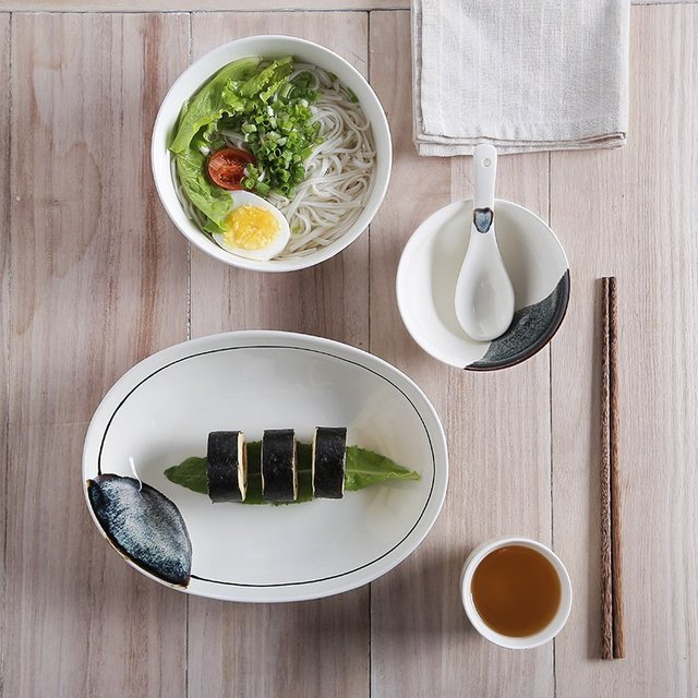 Christmas Gift Japanse Style Creative Home ceramic dinnerware set 6pcs porcelain tableware rice bowl plate cup & Christmas Gift Japanse Style Creative Home ceramic dinnerware set ...