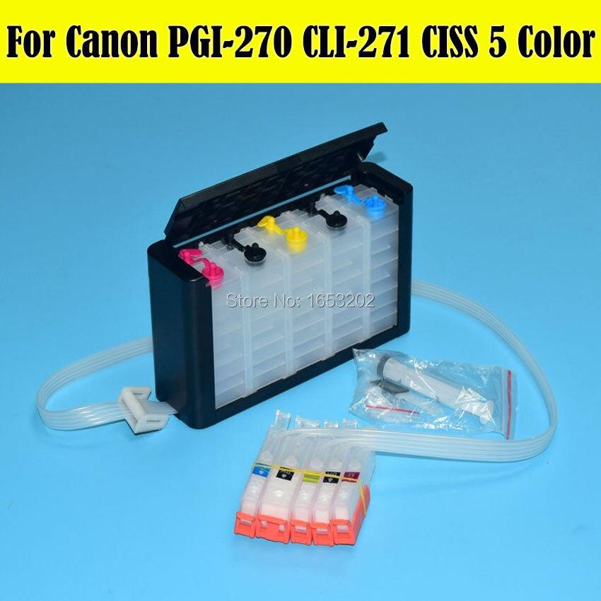 5 couleurs/ensemble CISS pour Canon PGI270 CLI271 Ciss pour Canon PIXMA MG5720 MG5721 MG5722 MG6820 MG6821 MG6822 imprimante