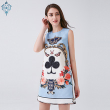 Ameision 2019 Summer Runway Dress Womens Sleeveless luxurious Diamonds Beading Floral Print Vintage Party Short Dresses