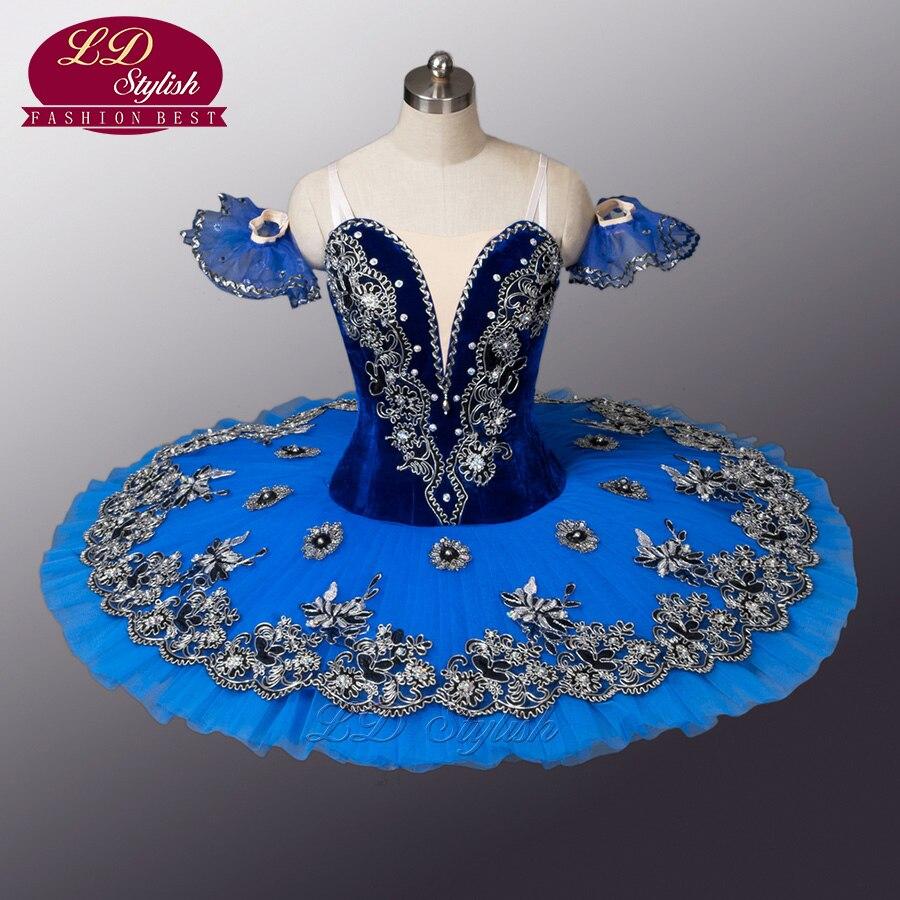 Velours Bleu Oiseau Ballet Tutu Noir Cygne Ballet Tutu Professionnel Ballet Tutu Pour La Concurrence Ou Performance LD8983