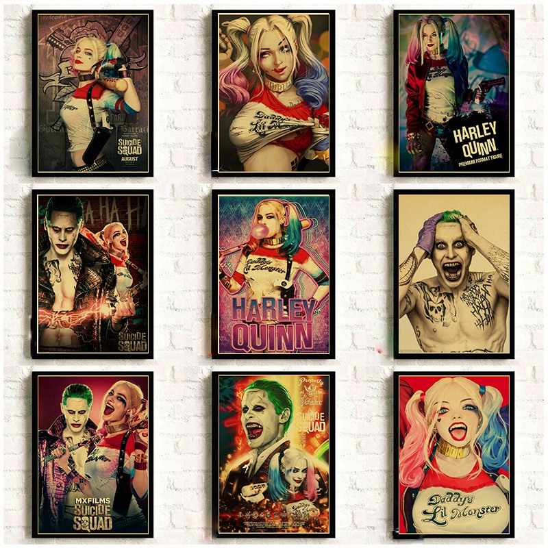 Suicide Squad Retro Poster Harley Quinn and The Joker Good Printed Art Poster Vintage Kraft Paper Bar Home Decor Painting