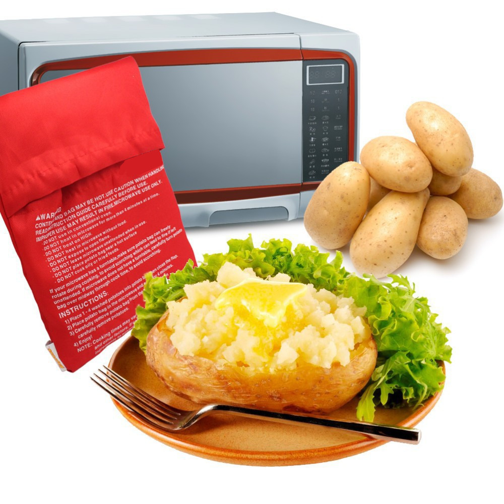 Shenzhen SuperDeal Technology Co., Ltd. PREUP Red Washable Cooker Bag Baked Potato Microwave Cooking Potato Quick Fast (cooks 4 potatoes at once) Kitchen Dining Tools