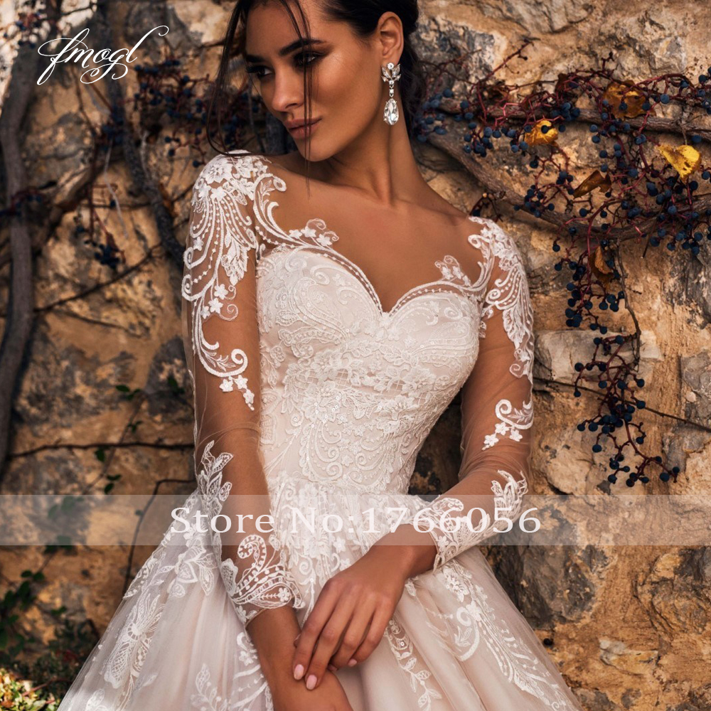 Fmogl Sexy Illusion Long Sleeve Vintage Wedding Dresses 2019 Scoop Neck Appliques Court Train Tulle A Line Bridal Gown Plus Size