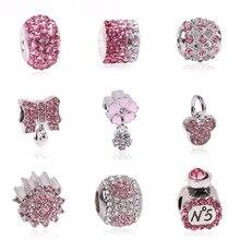 Couqcy Lovely Pink Beads Fit Original Pandora Bracelet Necklace Big Hole Diy Charms For Women Enamel Heart Shape Pendant Gift