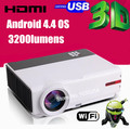 Android 4.42 WiFi  Full HD 5500Lumen 1280*800 digital video LED 3D TV Proyector Beamer  Multimedia Video Game Projector