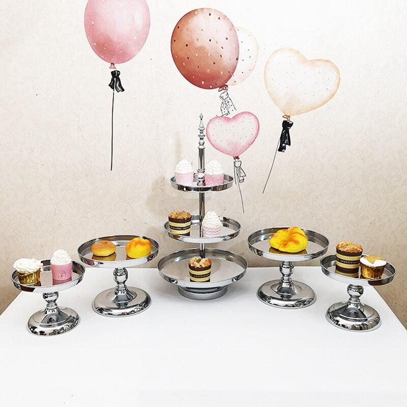 5 pçs/set conjunto carrinho do bolo de prata estande queque ferramentas de decoração do bolo