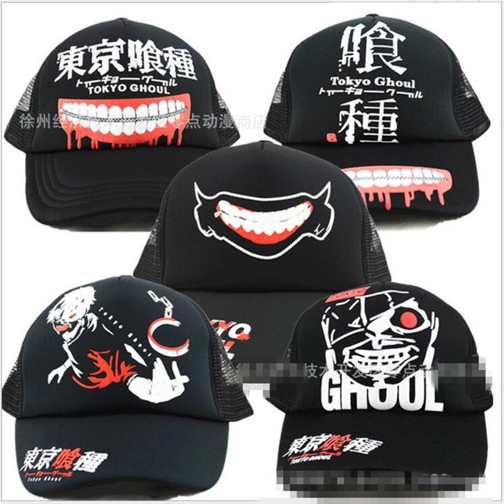 Prix pour Hot Anime Tokyo Ghoul Cosplay Cap charme Costume casquette de baseball Adulte Blanc Snapback Casquettes Nouveauté D'été Chapeau chapeau de Camionneur