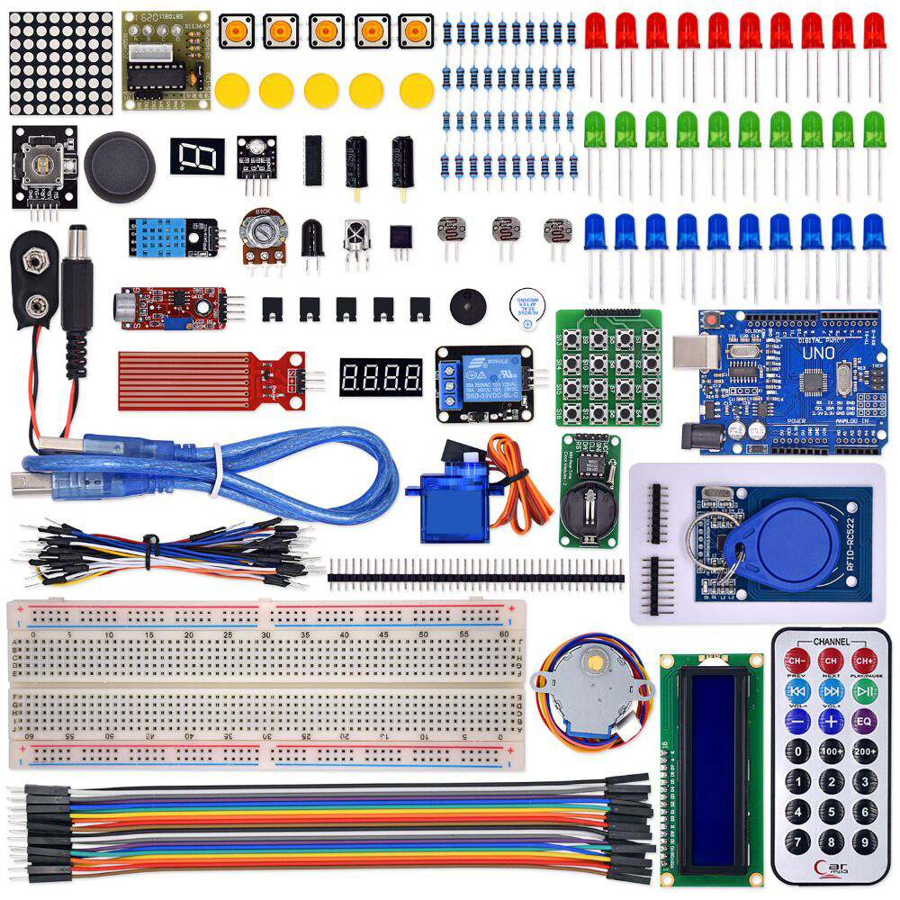 Kit for uno with mega 2560 / lcd1602 / hc-sr04 /dupont line in plastic box new starter kit mega 2560 for uno r3 stepper motor sg90 hc sr04 1602 lcd battery clip breadboard jumper wire uno r3 for arduino