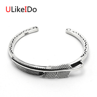 Pure 925 Sterling Silver Bangle Feather Fashion Vintage Hand Chain For Men And Women Opening Jewelry