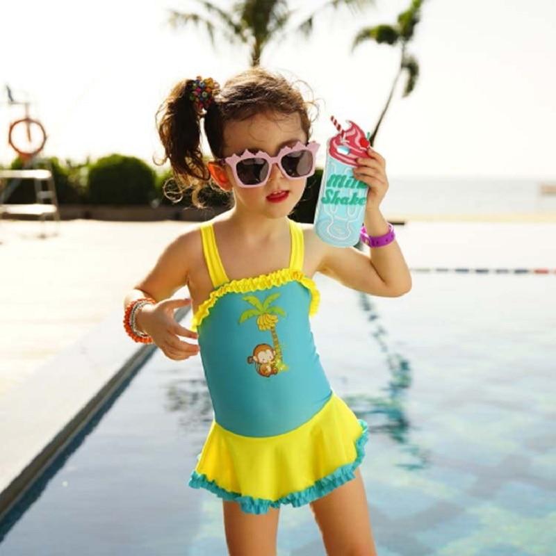 2017 Girls Swimsuit One Piece Children Swimwear High ...