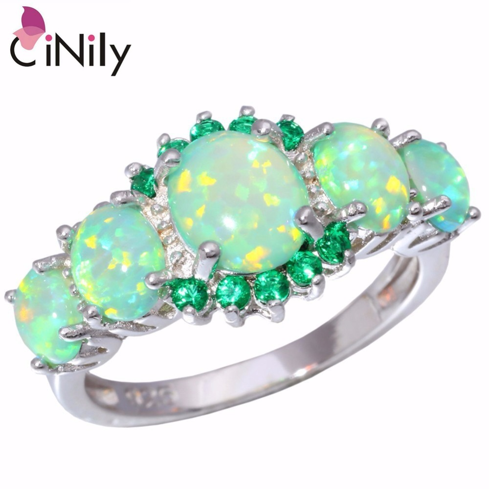 CiNily Created Green Fire Opal Green Zirconia Silver Plated Wholesale Hot Sell for Women Jewelry Wedding Ring Size 5-12 R7552