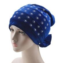 цена на velvet muslim women inner hijabs plain turban hijab caps rhinestone muslim islamic scarf headband sleeping hats india cap